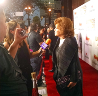 Angelica Maria being interviewed