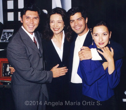 L-r: Lou Diamond Phillips, Rosanna DeSoto, Esai Morales and Elizabeth Peña at the tenth anniversary of La Bamba. ©1997 Angela María Ortíz S.
