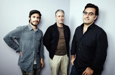 Gael García Bernal, Jon Stewart and Maziar Bahari Maarten De Boer/Getty Images