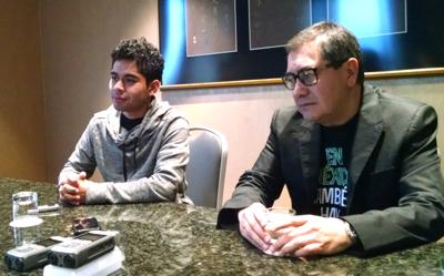 Actor Kristyan Ferrer and director Jorge Ramírez-Suárez Los Angeles press junket ©2015 Angela María Ortíz S.