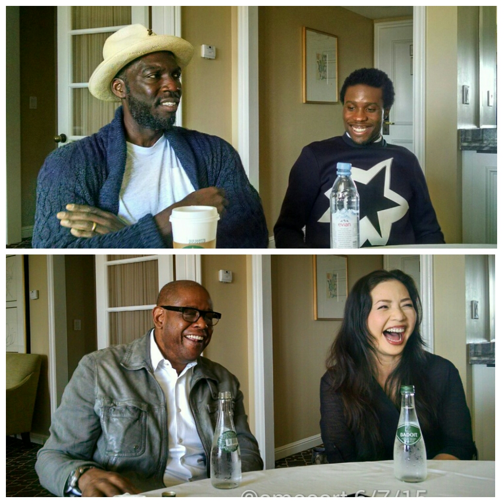 Top: director Rick Famuyima and Shameik Moore Bottom: Forrest Whitaker and Nina Yang Bongiovi