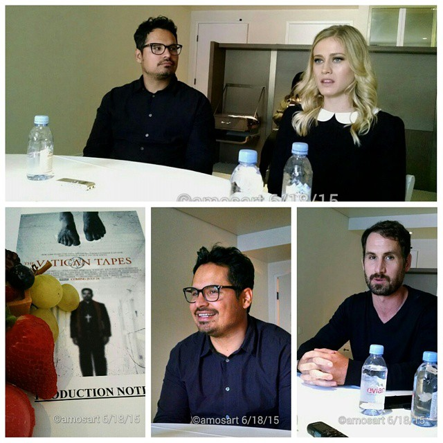 L-r: Michael Peña, Olivia Taylor Dudley and Mark Neveldine  ©2015 Angela María Ortíz S.