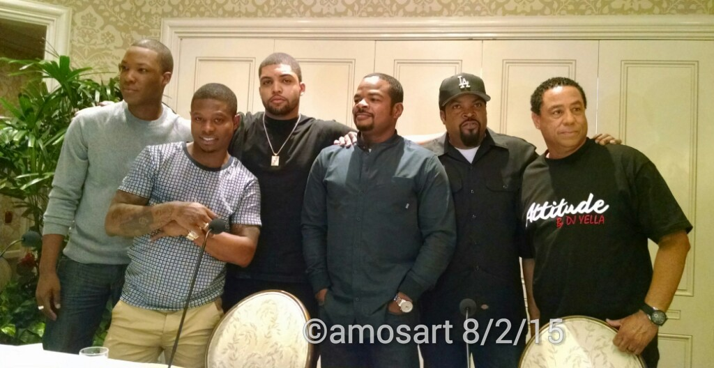 Corey Hawkins, Jason Mitchell, Oshea Jackson Jr., F. Gary Gray, Ice Cube and DJ Yella ©2015 Angela María Ortíz S.