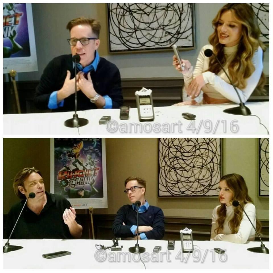L-r: Kevin Munroe, James Arnold Taylor and Bella Thorne