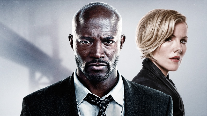 Murder in the First's Taye Diggs as Terry English and Kathleen Robertson as Hildy Mulligan