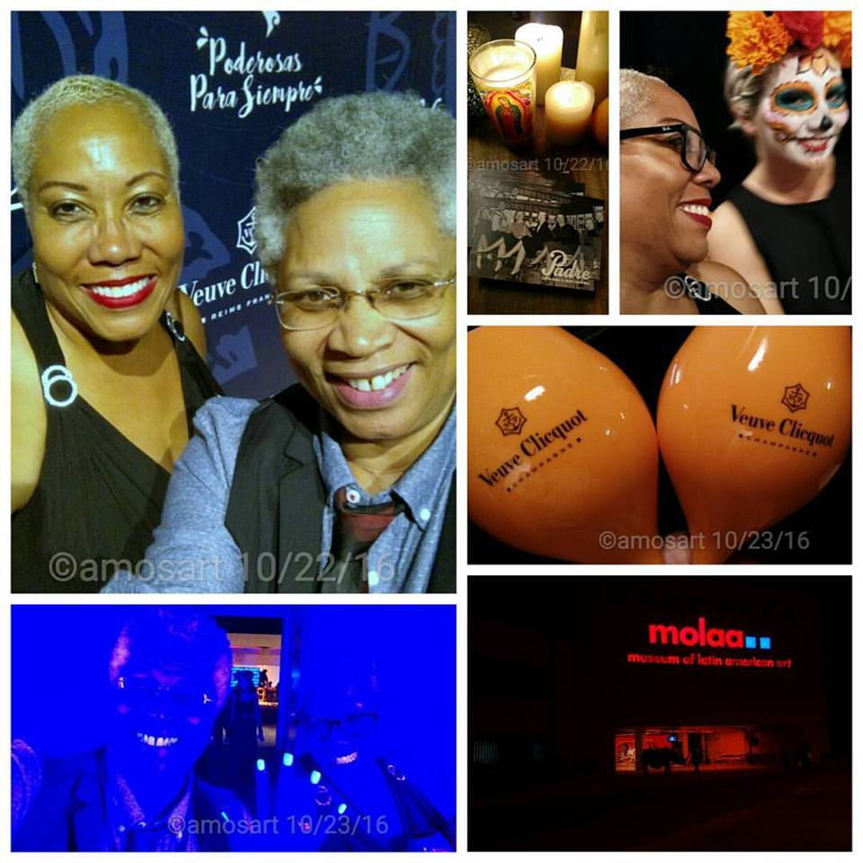 My prima Soraya Machado Powell and I at the beginning of the evening, then after a few glasses, we were blue.