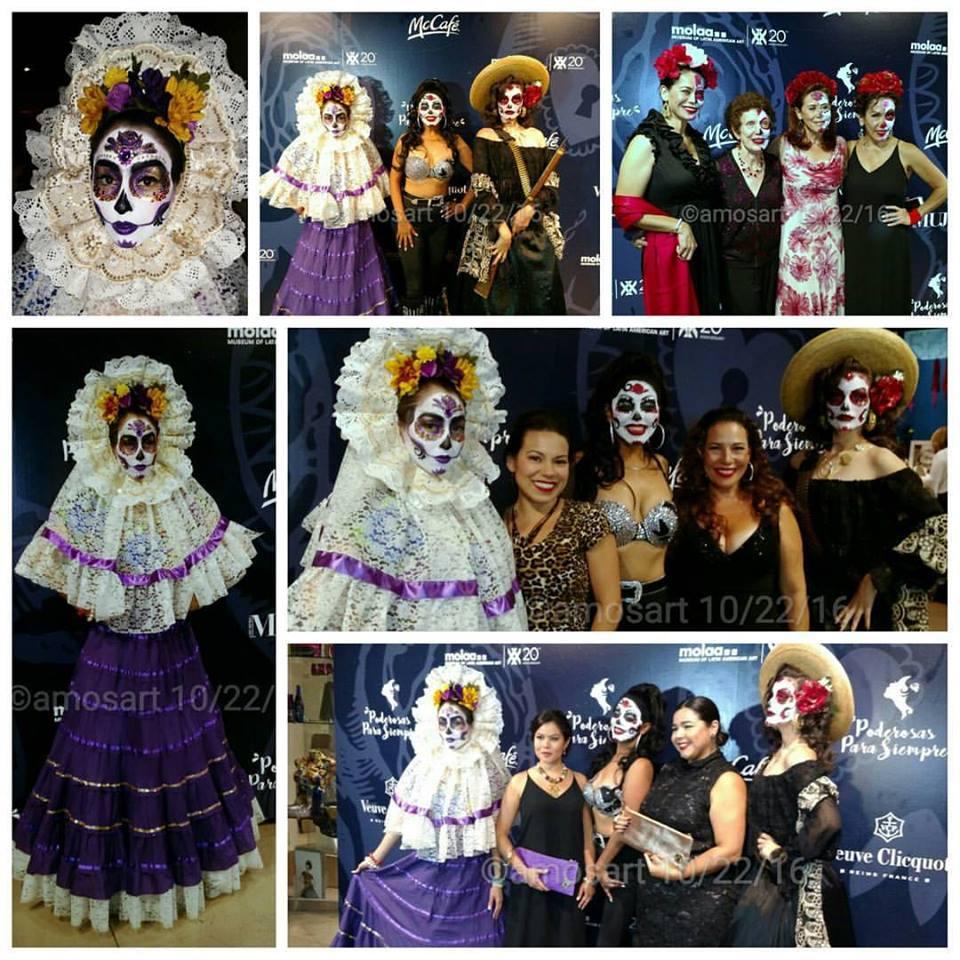 Frida, Selena, Maria Felix on the red carpet with friends, Gloria Garayua, Marabina Jaimes and at bottom, Jessica Torres of Siempre Mujer.
