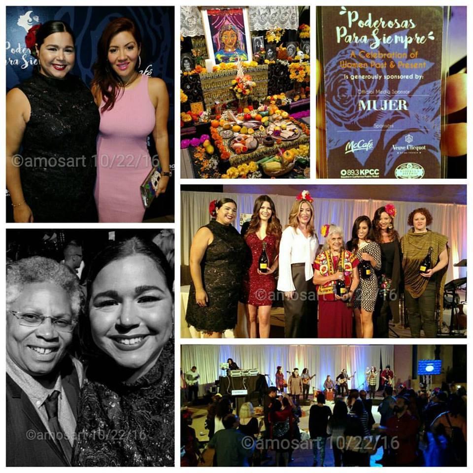 "Siempre Mujer's Jessica Torres, Raquel Cordova ""Raq-C,"" two of the honorees, Luz Maria Doria, maestra Ofelia Esparza and music by Entre Mujeres."