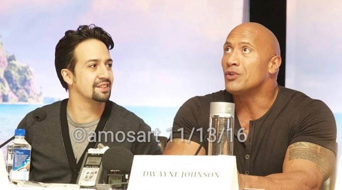 One of my favorite image of Lin Manuel Miranda and Dwayne Johnson from the Moana pressday. ©2016 Angela María Ortíz S.
