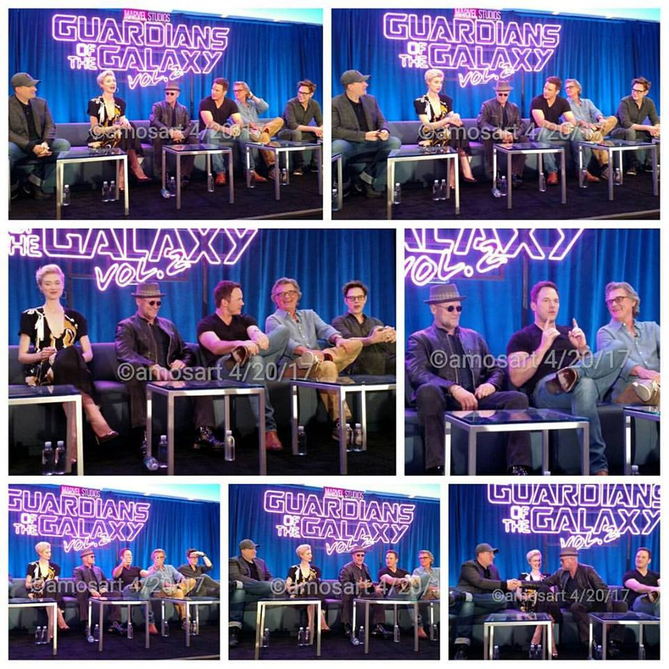 Kevin Feige, Elizabeth Debicki, Michael Rooker, Chris Pratt, KurtRussell, James Gunn, GotGVol2